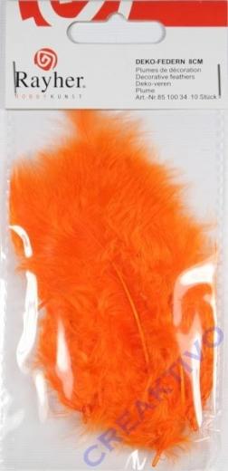 Deko-Federn 8cm 10 Stück orange