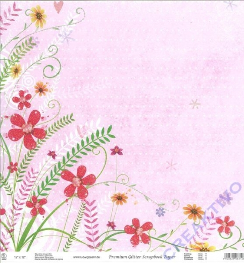 Premium Glitter Scrapbook paper Frühling 11