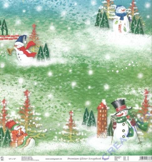 Premium Glitter Scrapbook paper Weihnachten 69