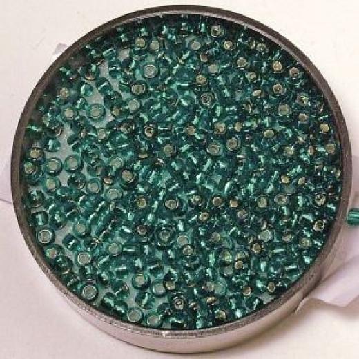 Premium-Rocailles, 2,2 mm ø mit Silbereinzug lagune