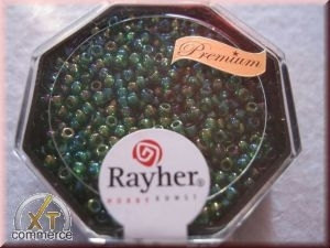 Premium-Rocailles, 2,2 mm ø transparent Rainbow jaspis