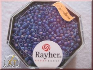 Delica-Rocailles, 2,2 mm ø transparent Rainbow matt, royalblau