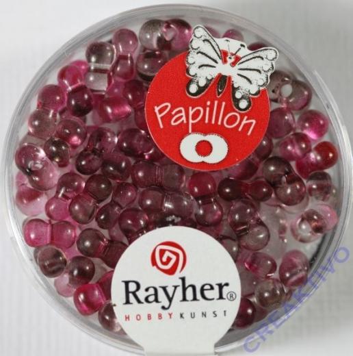 Papillon Rocailles Two Tone 3,2 x 6,5mm fuchsia