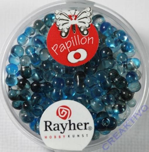 Papillon Rocailles Two Tone 3,2 x 6,5mm taubenblau