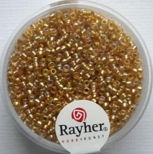 Rocailles 2mm mit Silbereinzug + Rainbow honiggelb