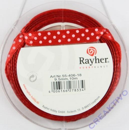 Rayher Satinband mit Punkten 9,5mm rot