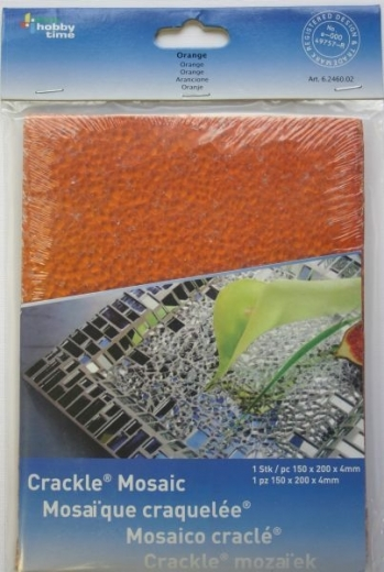 Crackle Mosaik Platte 15x20cm orange