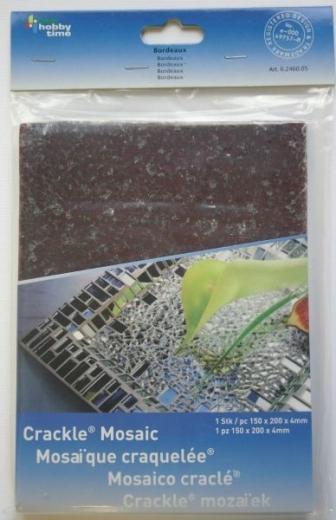 Crackle Mosaik Platte 15x20cm bordeaux
