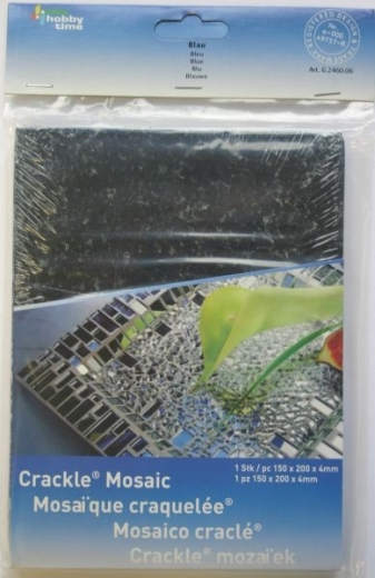 Crackle Mosaik Platte 15x20cm blau