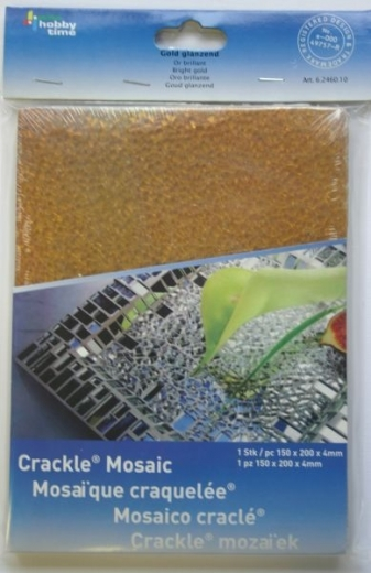 Crackle Mosaik Platte 15x20cm gold glänzend