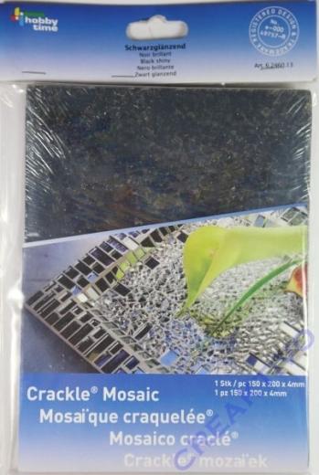 Crackle Mosaik Platte 15x20cm schwarz glänzend
