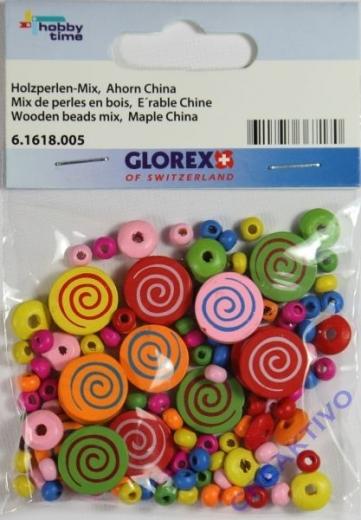 Holzperlen-Mix Kreise bunt 15mm