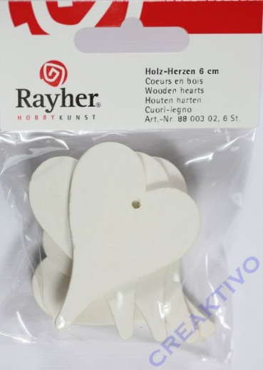 Holz-Herzen 6 Stück 6cm weiß