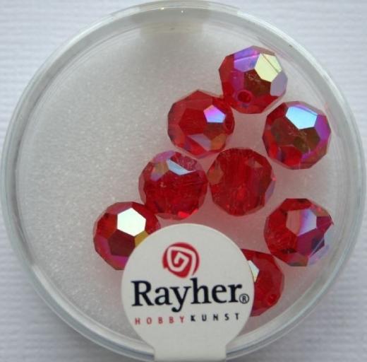 Rayher Rund-Schliffperlen 8mm 8 St. rubin
