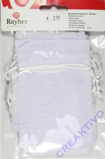Baumwoll-Säckchen  4 Stück (Restbestand)