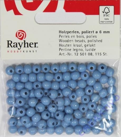 Rayher Holzperlen FSC, poliert 6mm 115St hellblau