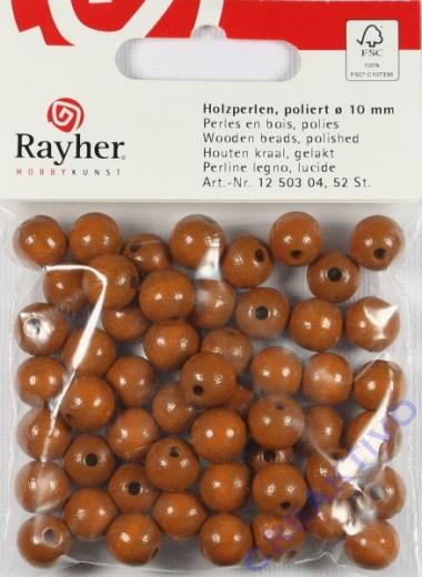 Rayher Holzperlen FSC, poliert 10mm 52St mittelbraun