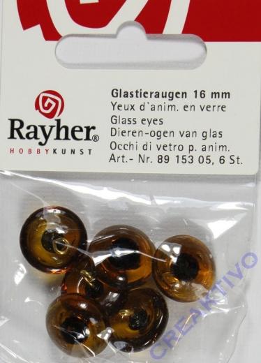 Glastieraugen zum Aufnähen, braun, 16 mm ø, SB-Btl. 6 Stück