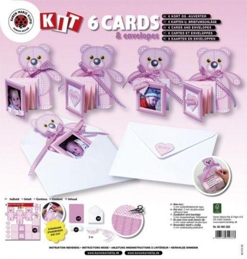 Bastelset: 6 Karten mit Teddys u.Kuverts babyrosa