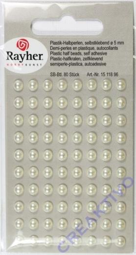 Plastik-Halbperlen selbstklebend 5mm 80 Stück creme