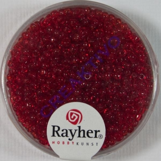 Rocailles 2 mm ø transparent rot