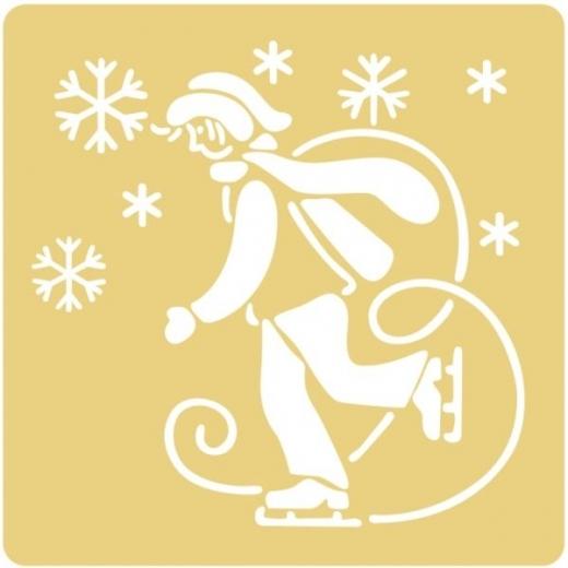 Embossing Schablone Schlittschuhläufer im Schnee