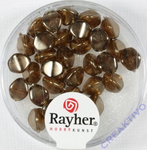 Rayher Glasperle Dreikant 7mm taupe-brown