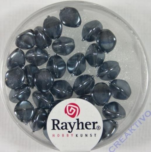 Rayher Glasperle Dreikant 7mm anthrazit