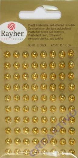 Plastik-Halbperlen selbstklebend 5mm 80 Stück gold