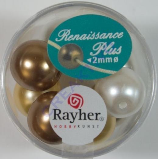 Renaissance Glaswachsperlen Großloch 14mm weiß/beige Mix