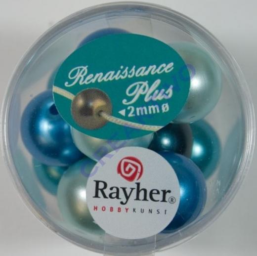 Renaissance Glaswachsperlen Großloch 14mm türkis Mix