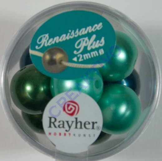 Renaissance Glaswachsperlen Großloch 14mm grün Mix