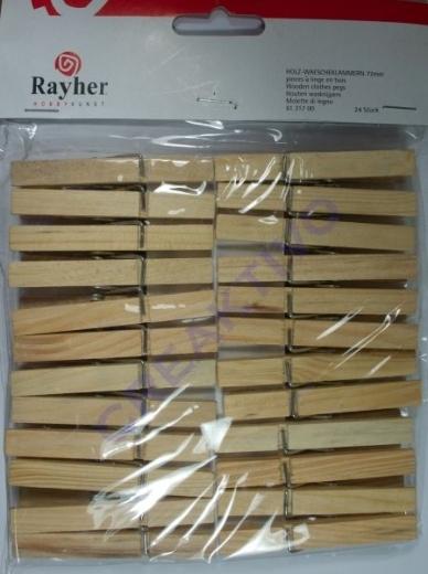 Holz-Wäscheklammern 72mm 24 Stück