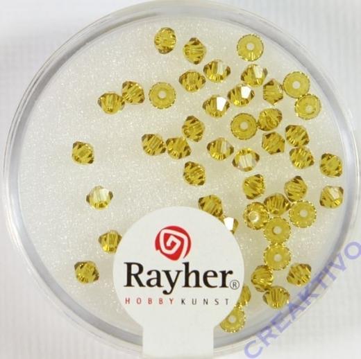 Rayher Swarovski Kristall-Schliffperlen 3mm goldgelb