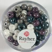 Rayher Glas Großlochradl opak 5,4mm grau lila weiß Töne