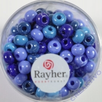 Rayher Glas Großlochradl opak 5,4mm blau-türkis Töne