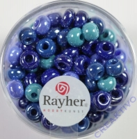 Rayher Glas Großlochradl opak 6mm blau-türkis Töne