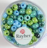 Rayher Glas Großlochradl opak 5,4mm grün-blau Töne