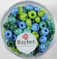 Rayher Glas Großlochradl opak 6mm grün-blau Töne