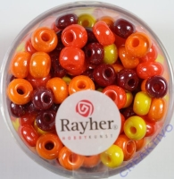 Rayher Glas Großlochradl opak 5,4mm rot-gelb Töne