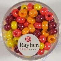 Rayher Glas Großlochradl opak 6mm rot-gelb Töne