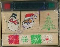4 Weihnachtsmotivstempel + 2 Stempelkissen (Restbestand)