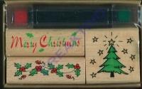 3 Weihnachtsmotivstempel + 2 Stempelkissen (Restbestand)