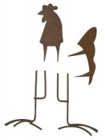 Metall-Hahn, klein, rost, 5,5 - 7 cm, 4 teilig