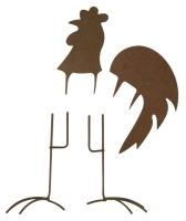 Metall-Hahn, groß, rost, 7 - 11,5 cm, 4 teilig