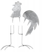 Metall-Hahn, groß, silber, 7 - 11,5 cm, 4 teilig