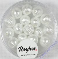 Rayher Rillenperlen 8mm weiß