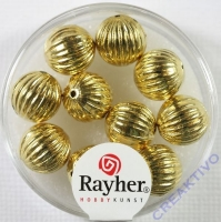 Rayher Rillenperlen 10mm gold