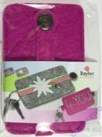 Filz Schlüssel Etui mit Druckknopf, pink