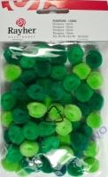 Pompons 15mm 60 Stück Grüntöne